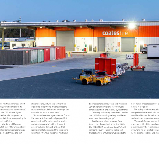 Case study for Coates Hire appearing in award nominated publication Gear Up